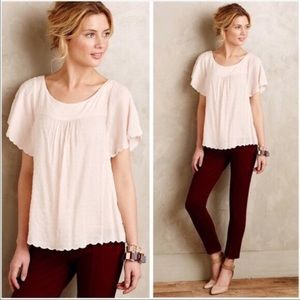 Anthropologie Maeve Swiss Dot Scalloped Hem Blouse